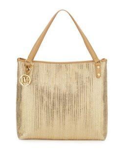 Borsa Metallic Woven PVC Tote Bag, Gold/Beige   Moschino