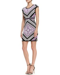 Womens Cap Sleeve Printed Sweater Dress, Multicolor   Ali Ro   Petunia multi