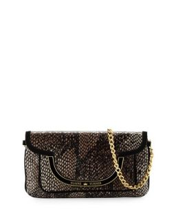 Greta Snake Print Leather Shoulder Bag, Bark Python   Elaine Turner