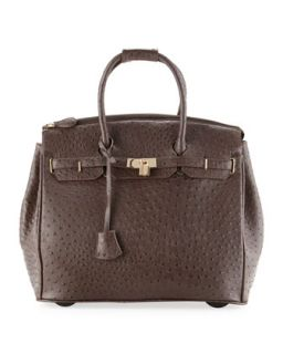 Kendall Ostrich Embossed Faux Leather Rolling Bag, Dark Brown   KC Jagger