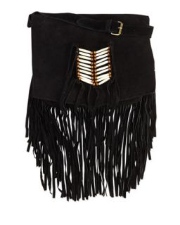 Maria Beaded & Fringed Crossbody Bag, Black   Raj