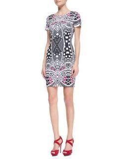 Womens Venus Geometric Print Scuba Dress, Pink   Charlie Jade   Pink (XS)