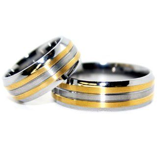 Blue Chip Unlimited   Matching 8mm Titanium and 18k Gold Rings His & Hers Ring Set Wedding Bands Engagement Rings (Available in Whole & Half Sizes 5 15): Jewelry