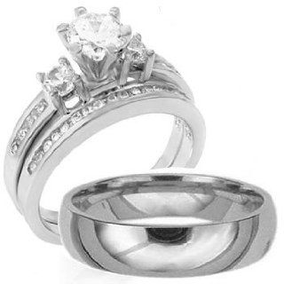 3 Pieces Men's Women's, His & Hers, 925 Sterling Silver & Titanium Engagement Wedding Ring Set, AVAILABLE SIZES men's 8,9,10,11,12; women's set 5,6,7,8,9,10. CONTACT US BY EMAIL THROUGH  WITH SIZES AFTER PURCHASE Jewelry
