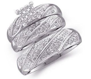 10k White Gold Mens and Ladies Couple His & Hers Trio 3 Three Ring Bridal Matching Engagement Wedding Ring Band Set   Round Diamonds   Princess Shape Center Setting (1/4 cttw): Jewelry