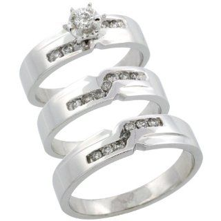 14k White Gold 3 Piece Trio His (5mm) & Hers (5mm) Diamond Wedding Ring Band Set w/ 0.44 Carat Brilliant Cut Diamonds; (Ladies Size 5 to10; Men's Size 8 to 14): Jewelry