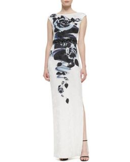 Womens Rose Blossom Print Jacquard Knit Gown with Sequined Liquid Satin Waist