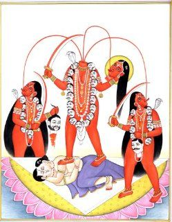 Chhinnamasta, Who Decapitates Herself to Feed Devotees   Watercolor on Paper   Artist  Kailash Raj   Watercolor Paintings
