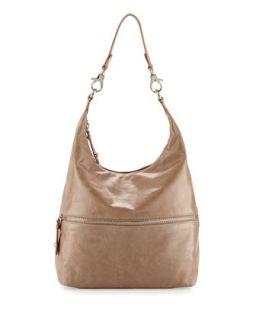 Jude Glossy Tumbled Leather Hobo Bag, Cammeo