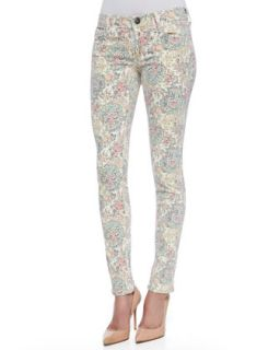 Womens Chrissy MId Rise Ankle Skinny Jeans, Paisley   True Religion   White