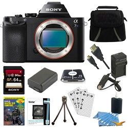 Sony ILCE 7S/B a7S Full Frame Camera 64GB SDHC Card & Battery Bundle