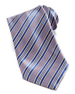 Mens Floral Stripe Silk Tie, Blue/Multi   Stefano Ricci   Blue