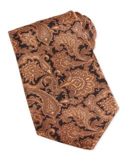 Mens Paisley Print Woven Silk Tie, Brown   Stefano Ricci   Brown 9