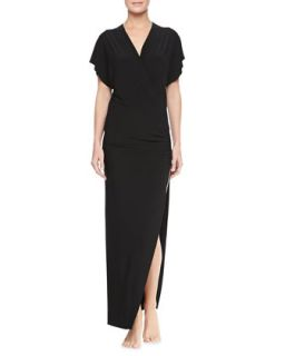 Womens Daphne Cap Sleeve Maxi Coverup Dress   Norma Kamali   Black (X SMALL)