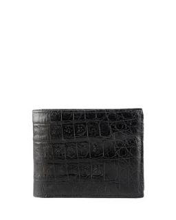 Mens Crocodile Bi Fold Wallet, Black   Santiago Gonzalez   Black