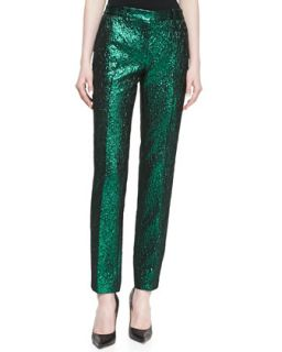Womens Metallic Crushed Pants, Emerald   Michael Kors   Emerald (14)
