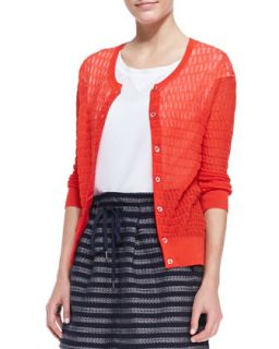 Womens Rose See Through Knit Cardigan, Bright Red   MARC by Marc Jacobs