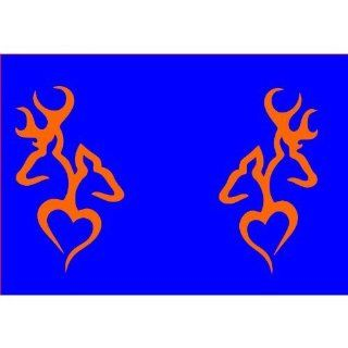A set of Browning Deer Head Heart Logo (2 decals in ORANGE a left & right sided)   Wall Decor Stickers
