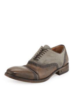 Mens Leather & Canvas Double Bal Oxford, Tan   John Varvatos   Tan (9 1/2)