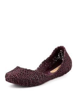 Melissa + Campana Papel III Glitter Jelly Flats, Burgundy   Melissa Shoes