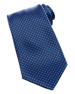 Mens Micro Floral Neat Silk Tie, Navy   Stefano Ricci   Navy