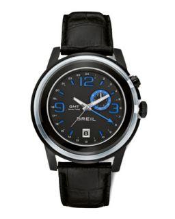 Mens Orchestra GMT Dual Time Watch, Black   Breil   Black