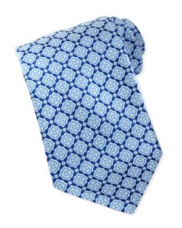 Mens Large Medallion Silk Tie, Blue   Stefano Ricci   Blue