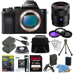 Sony ILCE 7S/B a7S Full Frame Camera, 55mm Lens, 64GB SDHC Card, 2 Batteries Bun