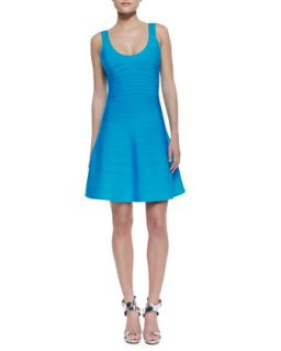 Womens Eva Scoop Neck Bandage Dress, BT Turquoise   Herve Leger   Bt turquoise
