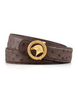 Mens Eagle Head Ostrich Belt with Round Buckle, Brown   Stefano Ricci   Brown