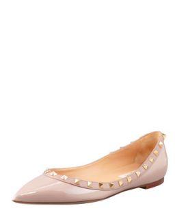 Rockstud Patent Ballerina Flat, Nude   Valentino   Nude (42.0B/12.0B)