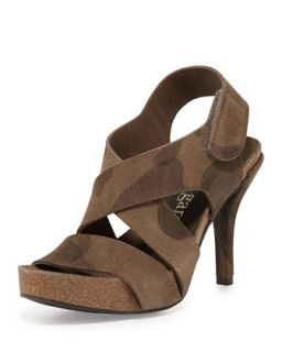 Lynna Suede High Heel Sandal, Olive Camo   Pedro Garcia   Olive camo (38.0B/8.
