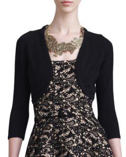 Womens Cashmere Silk Bolero, Black   Oscar de la Renta   Black (X LARGE)