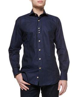 Mens Rey 83 Jacquard Sport Shirt   Bogosse   Navy (4)
