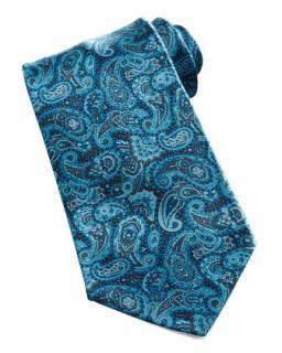 Mens Paisley Silk Tie, Aqua   Stefano Ricci   Aqua