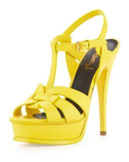 Tribute High Heel Leather Sandal, Mustard   Saint Laurent   Mustard (36.5B/6.5B)