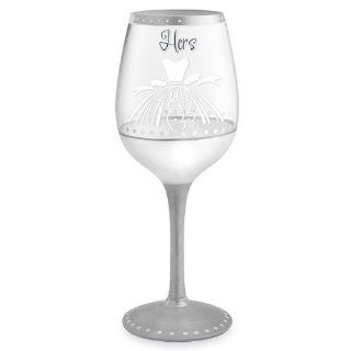 Hers Hand Painted Wine Glass   16 Oz Kitchen & Dining