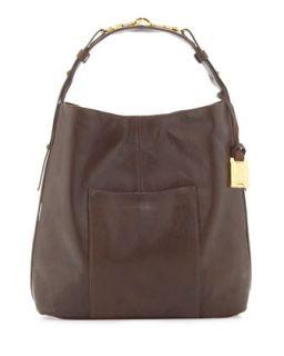 Arizona North South Leather Hobo Bag, Chocolate   Rachel Zoe