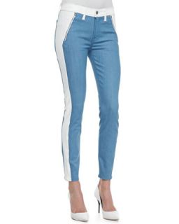 Womens The Skinny Two Tone Jeather/Denim Jeans   7 For All Mankind   Wht
