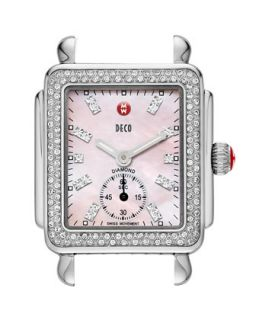Deco 16 Diamond Mosaic Stainless Steel Watch Head, Pink   MICHELE   Silver/Pink