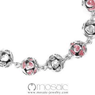 "Mosaic ""Roundy"" Fine Sterling Silver with Cubic Zirconia Bracelet: Jewelry"