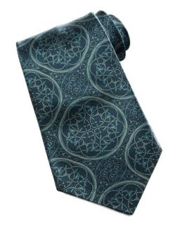 Mens Large Medallion Silk Tie, Dark Green   Stefano Ricci   Green