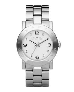Amy Crystal Analog Watch with Bracelet, Stainless/White   MARC by Marc Jacobs
