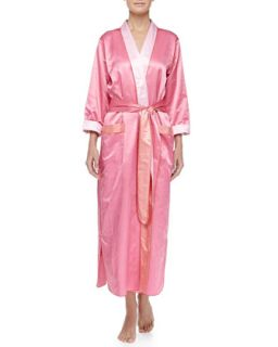 Womens Monte Carlo Satin Long Robe, Pink/Coral   Louis at Home   Hot pink/C