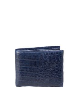 Mens Crocodile Bi Fold Wallet, Navy   Santiago Gonzalez   Navy