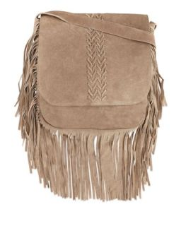 Jessica Suede Fringed Crossbody Bag, Tan   Raj