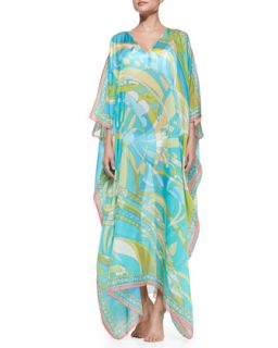 Womens Printed Chiffon Caftan Coverup   Emilio Pucci   Turchese (ONE SIZE)