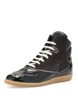 Mens Contoured High Top Sneaker, Black   Maison Martin Margiela   Black (41)