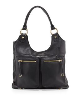 Dylan Front Pocket Leather Tote Bag, Black   Linea Pelle