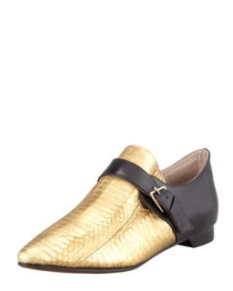 Roland Snakeskin Monk Shoe, Gold/Black   10 Crosby Derek Lam   Gold (36.0B/6.0B)